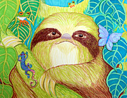 Sloth Drawings Posters - Mossy Sloth Poster by Nick Gustafson