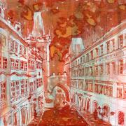 Charles Bridge Painting Prints - Mostecka Print by Yevgenia Watts
