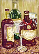 Wine Glass Mixed Media Posters - Mostly Red Poster by Peggy Wilson