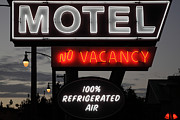 Neon Light Posters - Motel - No Vacancy - 5D17747 Poster by Wingsdomain Art and Photography