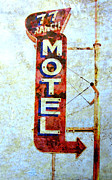Peeling Paint Posters - Motel 77 Sign Poster by Ann Powell
