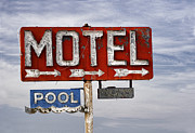 Historical Signs Posters - Motel and Pool Poster by Carol Leigh