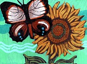 Canvas Panel Prints - Moth and Sunflower Print by Genevieve Esson