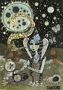 Williams Mixed Media Posters - Moth Girl Singing to the Moon Poster by Bethy Williams