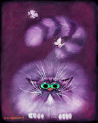 Humorous Cat Paintings - Moth Hunter by Baron Dixon