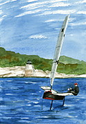 International Painting Originals - Moth Sailing at Castle Hill Light by Nancy Patterson