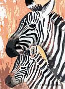 Zebra Digital Art - Mother And Baby by Arline Wagner