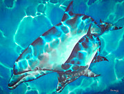 Dolphin Tapestries - Textiles - Mother and Baby by Daniel Jean-Baptiste