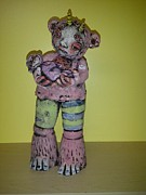 Baby Ceramics - Mother And Baby Monster by Kathleen Raven