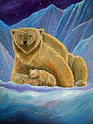 Bear Art Paintings - Mother and baby Polar bears by Nick Gustafson