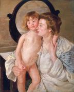 Wash Painting Posters - Mother and Boy Poster by Mary Stevenson Cassatt