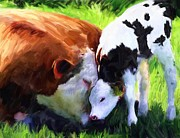 Calf Mixed Media - Mother and calf by Donna Johnson