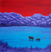 Serene Landscape Painting Originals - Mother and Calf by Randall Weidner