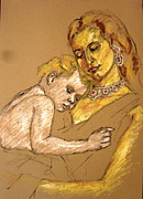 Ring Pastels - Mother and Child 10 by Mohd Raza-ul Karim