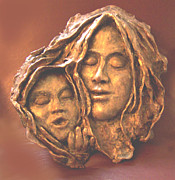 Child Sculpture Framed Prints - Mother and Child Framed Print by Beverly Barris
