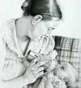 Dakota Drawings - Mother and Child by David Ackerson