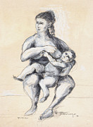 Mother And Child Drawings - Mother and Child  by Elena Irving