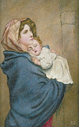 Caring Metal Prints - Mother and Child Metal Print by English School