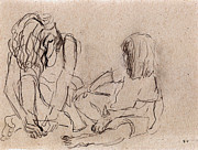 Pencil Sketch Drawings Prints - Mother and Child Print by Ethel Vrana