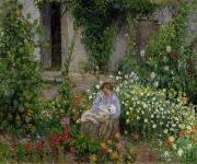 Mother Painting Prints - Mother and Child in the Flowers Print by Camille Pissarro