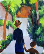 Tree Lined Paintings - Mother and Child in the Park by August Macke