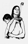 Mother And Child Drawings - Mother and Child by Larry Lehman