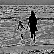 Surf Silhouette Prints - Mother and Child Print by Leslie Revels Andrews