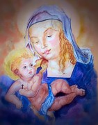 Religious Art Paintings - Mother and Child by Myrna Migala