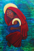 Black Madonna Paintings - Mother and Child by Natasha Monnereau