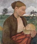 Suckling Paintings - Mother and Child by Paula Modersohn Becker