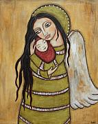 Christian Art Pastels Posters - Mother and Child Poster by Rain Ririn