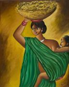 Sweta Prasad Prints - Mother and Child Print by Sweta Prasad