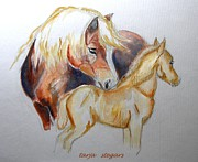 Horse Drawings Framed Prints - Mother and Child Framed Print by Tarja Stegars