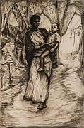India Mixed Media Prints - Mother and Child Print by Tim Thorpe