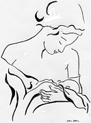 Figure Drawings - Mother and Child by Valerie Felice