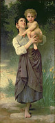 Maternal Framed Prints - Mother and Child Framed Print by William Adolphe Bouguereau