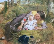 Woman And Child Posters - Mother and Child with a poppy Poster by Frederick Richard Pickersgil