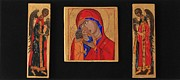 Russian Icon Painting Posters - Mother and Child with Archangels Poster by Amy Reisland-Speer
