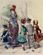 Fashionable Posters - Mother and children in indoor costume Poster by Jules David