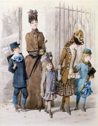 Fashionable Posters - Mother and children in walking dress  Poster by Jules David