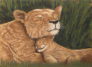 Lion Pastels Posters - Mother and cub Poster by Charles Hubbard