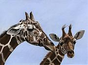 Africa Pastels Framed Prints - Mother and Daughter Framed Print by Deb LaFogg-Docherty