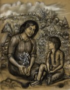 Mountain Cabin Drawings Posters - Mother and Daughter in the Garden Poster by Dawn Senior-Trask