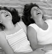 Laughs Posters - Mother And Daughter Laughing Poster by Michelle Quance