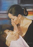 Daughter Pastels Posters - Mother and daughter  Poster by Leonor Thornton