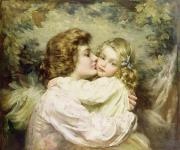 Benjamin Framed Prints - Mother and Daughter  Framed Print by Thomas Benjamin Kennington