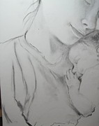 Bonding Drawings Metal Prints - Mother and Sleeping Child Metal Print by Sheila Gunter