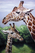 Giraffe Pastels Posters - Mother and son Poster by Deb LaFogg-Docherty