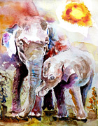 Abstract Wildlife Paintings - Mother And Son by Steven Ponsford