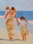 Ocean Shore Framed Prints - Mother and Two Daughters Framed Print by Molly Wright